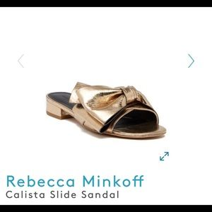 "Rebecca Minkoff ""Calista"" Slide Sandal in Gold"